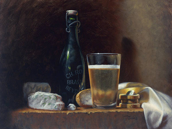 Oil Art Print featuring the painting Bleu Cheese And Beer by Timothy Jones