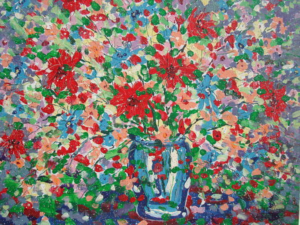 Painting Art Print featuring the painting Blue And Red Flowers. by Leonard Holland