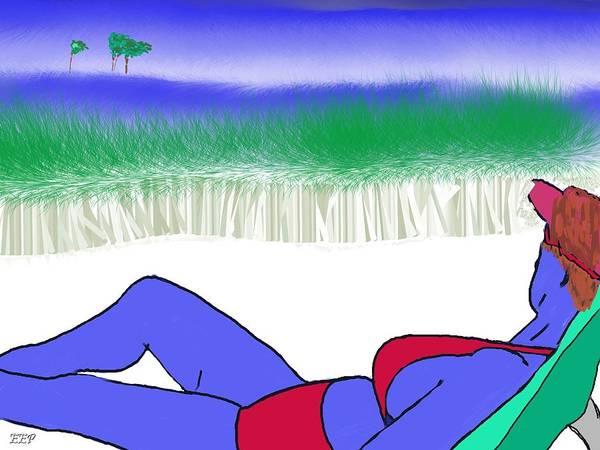 Beach Art Print featuring the digital art Blue Beach by Enrico Pischiera