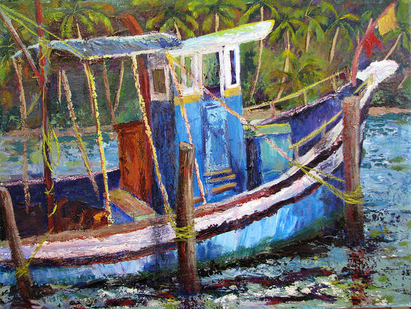 Fishing Art Print featuring the painting Blue Fishing Boat by Art Nomad Sandra Hansen