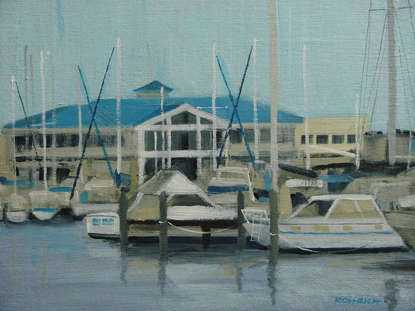 Boats Yachts Art Print featuring the painting Blue Marina by Robert Rohrich
