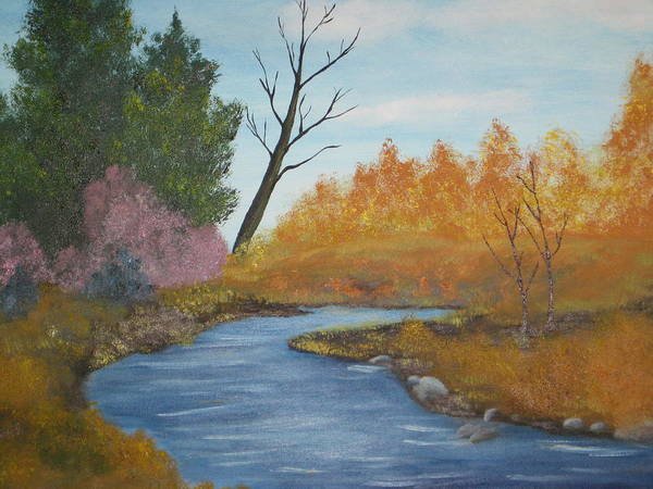 Autum Landscape Art Print featuring the painting Blue River by Terri Warner