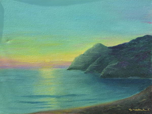 Sunrise And Cliffs Art Print featuring the painting Blue by Sheryl Sutherland