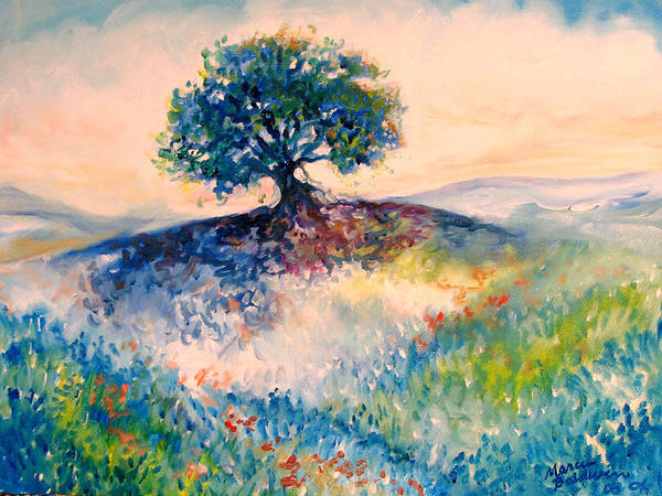 Tree Art Print featuring the painting Bluebonnet Hill by Marcia Baldwin