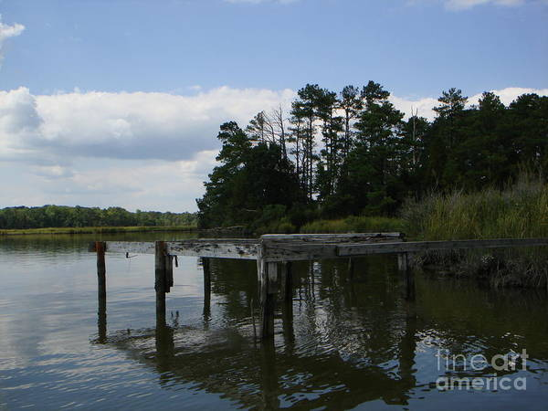 Boat Doc Art Print featuring the photograph Boat Dock On The Bay by PJ Cloud