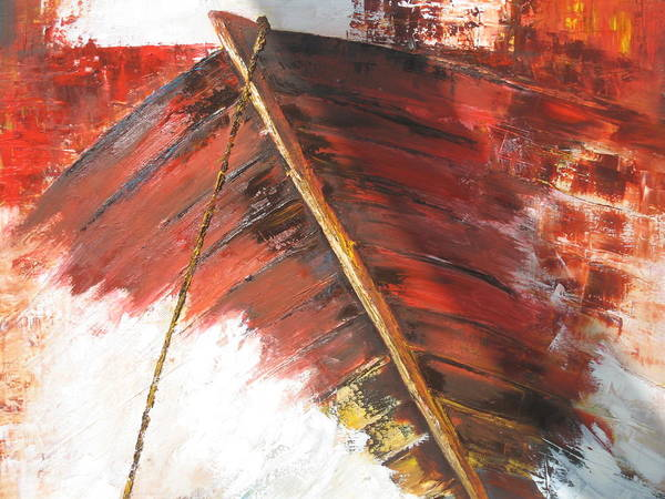 Boat Art Print featuring the painting 'boat In Storm' by Marina Harris