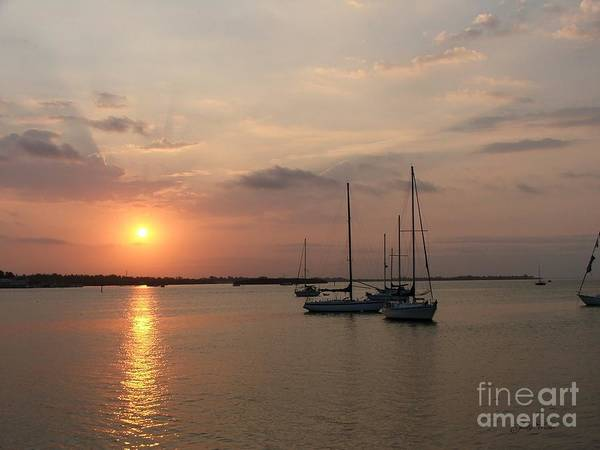 Sunrise Art Print featuring the photograph Boats At Sunrise by Judy Waller