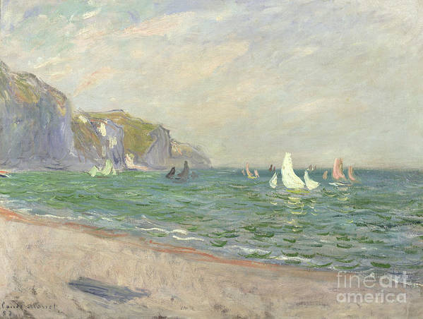 Boats Print featuring the painting Boats Below The Cliffs At Pourville by Claude Monet