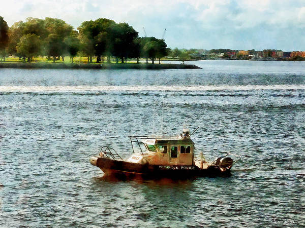 Boat Art Print featuring the photograph Boats - Police Boat Norfolk Va by Susan Savad