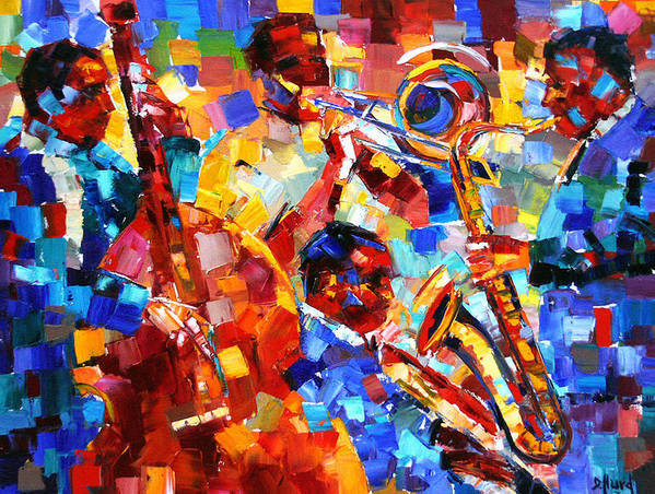 Jazz Art Print featuring the painting Bold Jazz Quartet by Debra Hurd