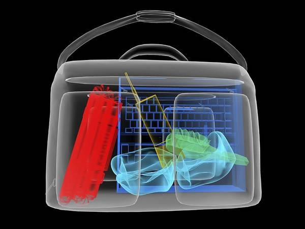 Explosives Art Print featuring the photograph Bomb Inside Briefcase, Simulated X-ray by Christian Darkin
