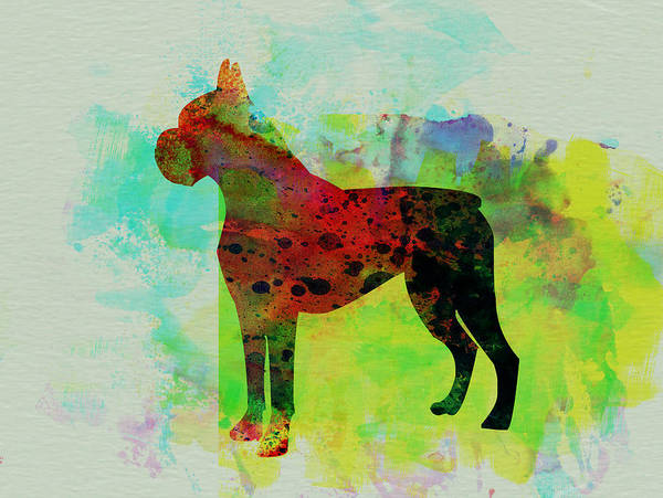 Boxer Art Print featuring the painting Boxer Watercolor by Naxart Studio