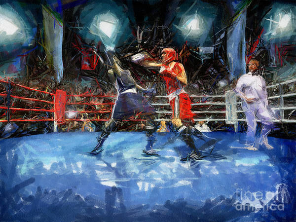 Boxing Art Print featuring the painting Boxing Night by Murphy Elliott