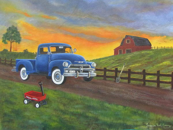 Art Print featuring the painting Boys Toys by Sharon Coray