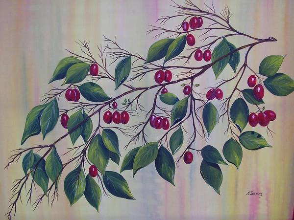 Fruits Art Print featuring the painting Branch Of Spice by Murielle Hebert