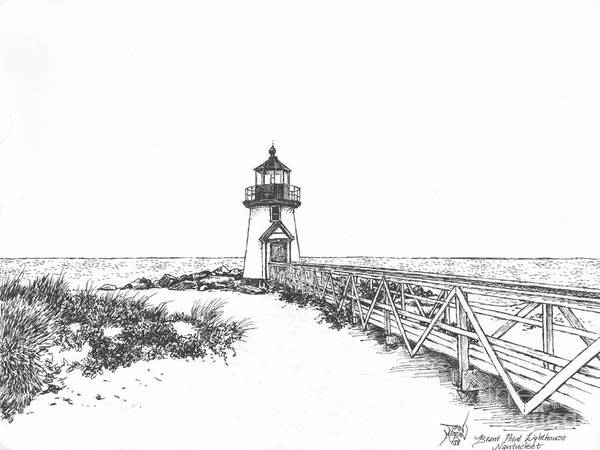 Lighthouse Art Print featuring the drawing Brant Point Lighthouse by Dan Moran