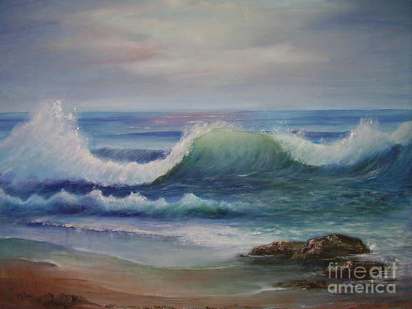 Seascape Art Print featuring the painting Breakers by Rita Palm