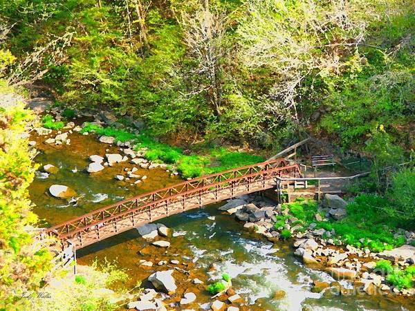 Rocks Art Print featuring the photograph Bridge At The Falls by Judy Waller