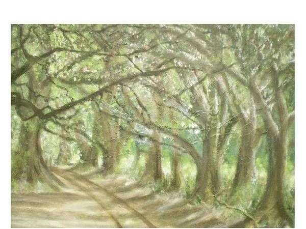 Landscape Art Print featuring the painting Bridge Of Oaks by Hal Newhouser