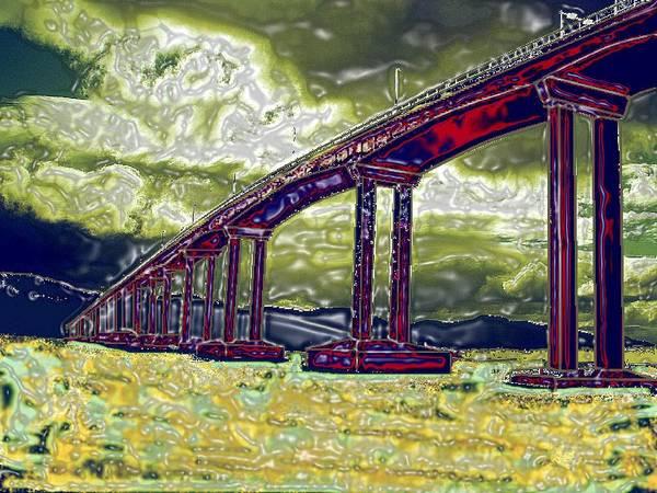 Stormy Water Bridge Hobart Tasmania Art Print featuring the photograph Bridge Over Stormy Waters by Bethwyn Mills