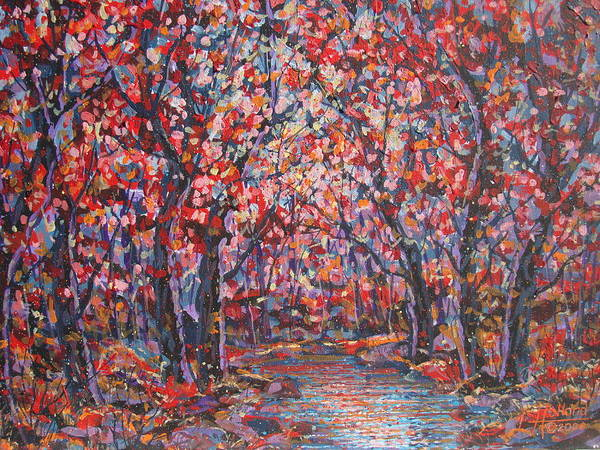 Forest Art Print featuring the painting Brilliant Autumn. by Leonard Holland
