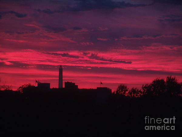 Washington Monument Art Print featuring the photograph Brilliant Sunset 2 by Rod Ismay