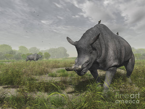 Earth Art Print featuring the digital art Brontotherium Wander The Lush Late by Walter Myers
