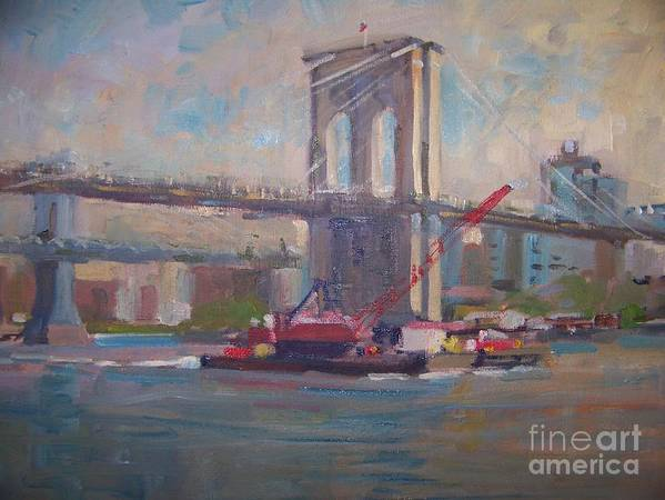 View Of The Brooklyn Bridge From Pier 17 Art Print featuring the painting Brooklyn Bridge by Bart DeCeglie