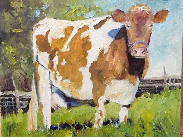 Landscape Art Print featuring the painting Brown Cow by Wyn Ericson