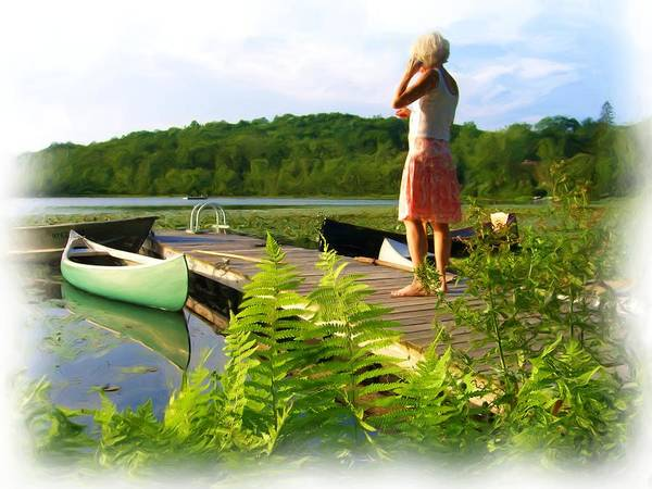 Landscape With Person Art Print featuring the painting Bryant Pond by Jonathan Galente