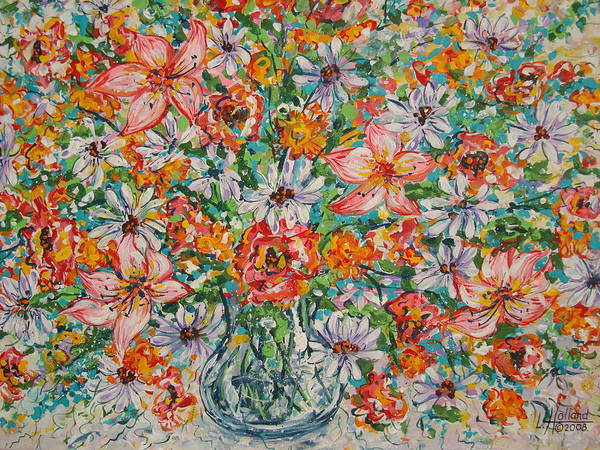 Flowers Art Print featuring the painting Burst Of Flowers by Leonard Holland