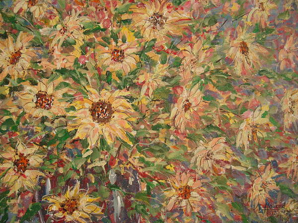 Flowers Art Print featuring the painting Burst Of Sunflowers. by Leonard Holland