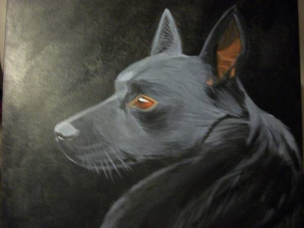 Dog Black On Black Art Print featuring the painting Buster by Roxanna Finch