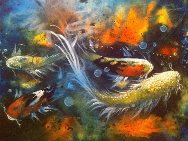 Koi Art Print featuring the painting Butterfly Koi Dance by Gloria Avner
