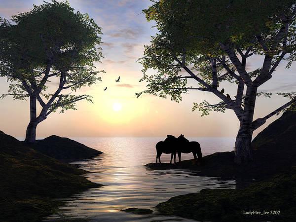 Sunset Art Print featuring the digital art By Sunset Light by Linda Ebarb