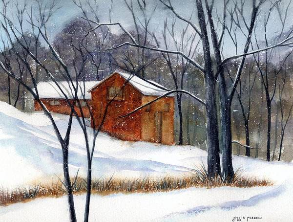 Cabin Art Print featuring the painting Cabin In The Woods by Debbie Lewis