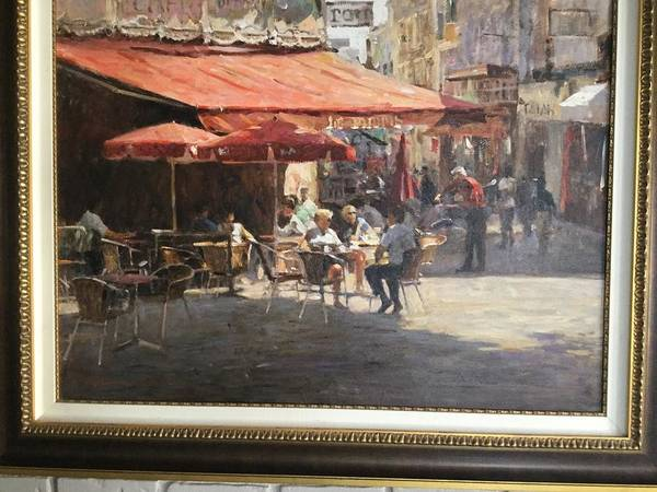 Original Oil.  Cafe Et Pasteries. Leonard Wren Art Print featuring the painting Cafe Et Pasteries by Leonard Wren