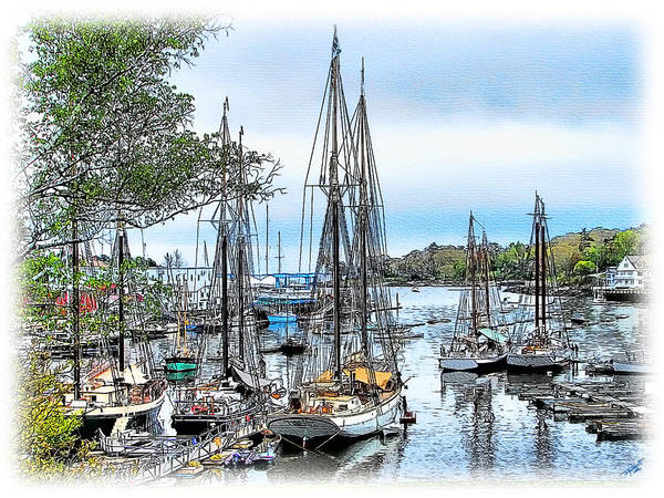 Camden Art Print featuring the painting Camden Bay Harbor by Tom Schmidt
