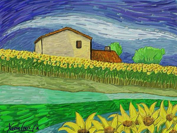 Figurative Art Print featuring the painting Camp De Girasols by Xavier Ferrer