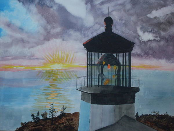 Lighthouse Art Print featuring the painting Cape Meares Lighthouse Oregon by Warren Thompson
