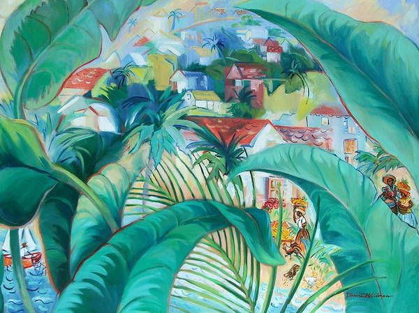 Caribbean Figures Art Print featuring the painting Caribbean Fantasy by Dianna Willman