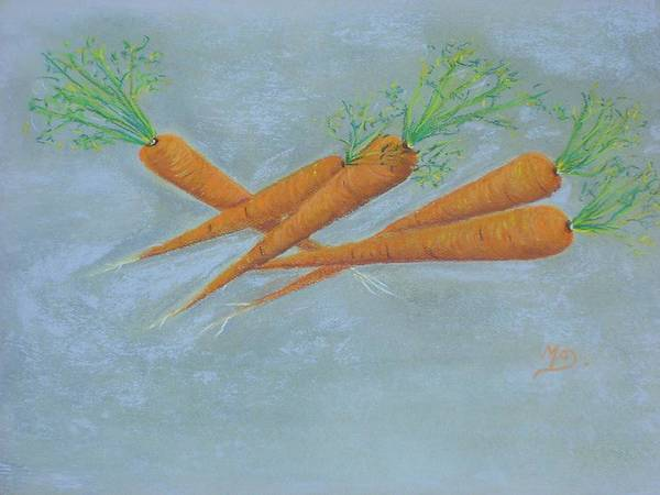 Vegetables Art Print featuring the painting Carrots by Murielle Hebert