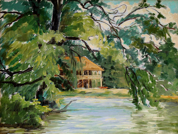 Cascadilla Boathouse Art Print featuring the painting Cascadilla Boathouse Ithaca New York by Ethel Vrana