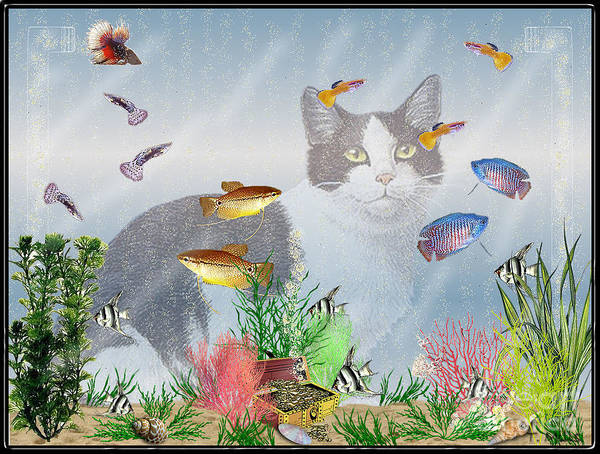 Fish Art Print featuring the digital art Cat Watching Fishtank by Terri Mills