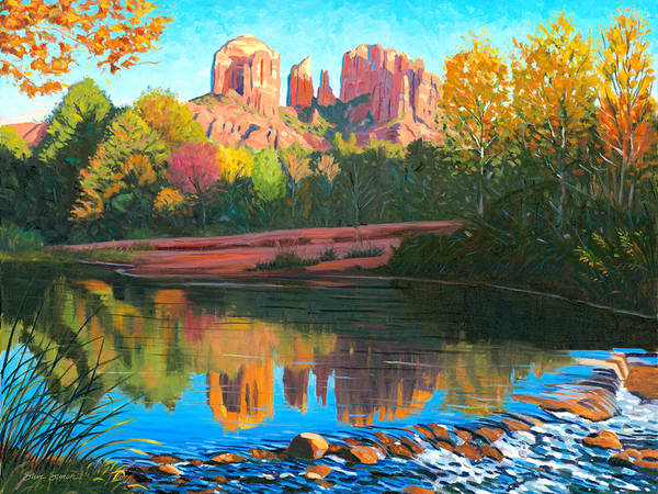 Oak Creek Art Print featuring the painting Cathedral Rock - Sedona by Steve Simon