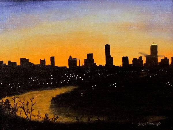 Cityscape Art Print featuring the painting Catherine's Sunrise by Jack Skinner