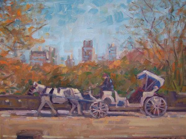 Horse -drawn Carriage In Central Park Ny Art Print featuring the painting Central Park Tourists by Bart DeCeglie