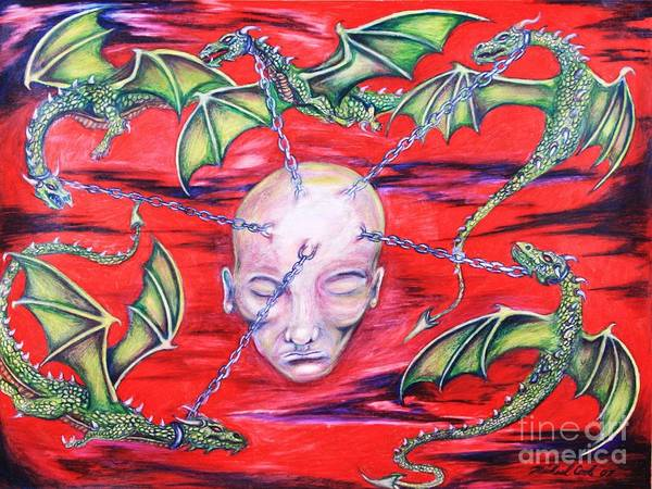 Dragons Fantasy Surreal Art Print featuring the drawing Chained by Michael Cook