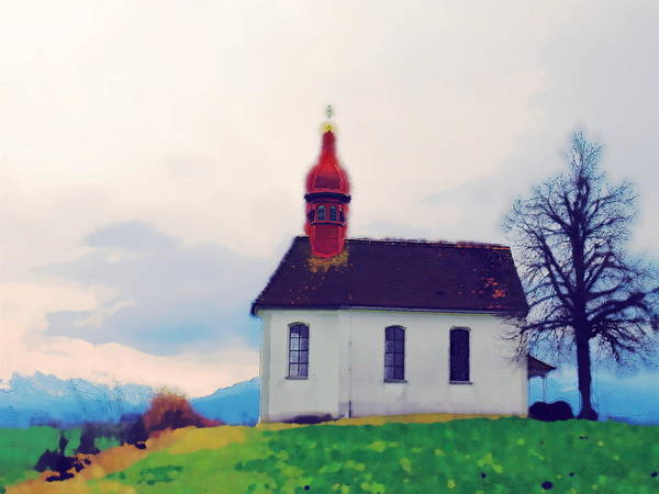 Landscape Art Print featuring the photograph Chapel On A Hill by Chuck Shafer