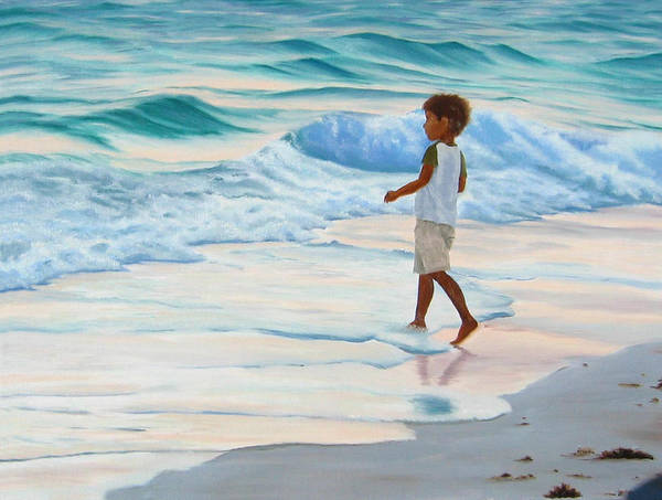 Child Art Print featuring the painting Chasing The Waves by Lea Novak
